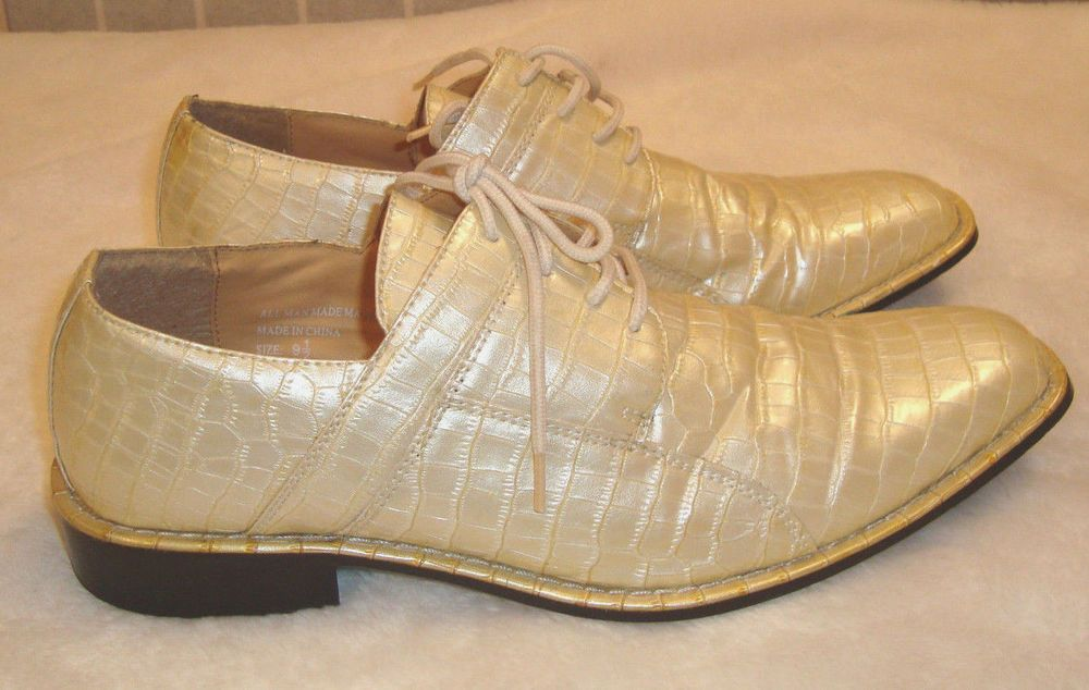 Expression by RC Sz 9.5 Croc Print Leather Oxford Shoes