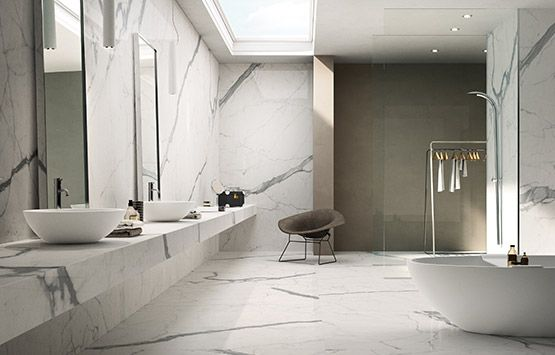 Porcelain Statuario Slab And Tiles 6mm Thin 120 X 60 Suitable For Countertops Walls Floors Exteri Diy Bathroom Decor Marble Bathroom Minimalist Bathroom