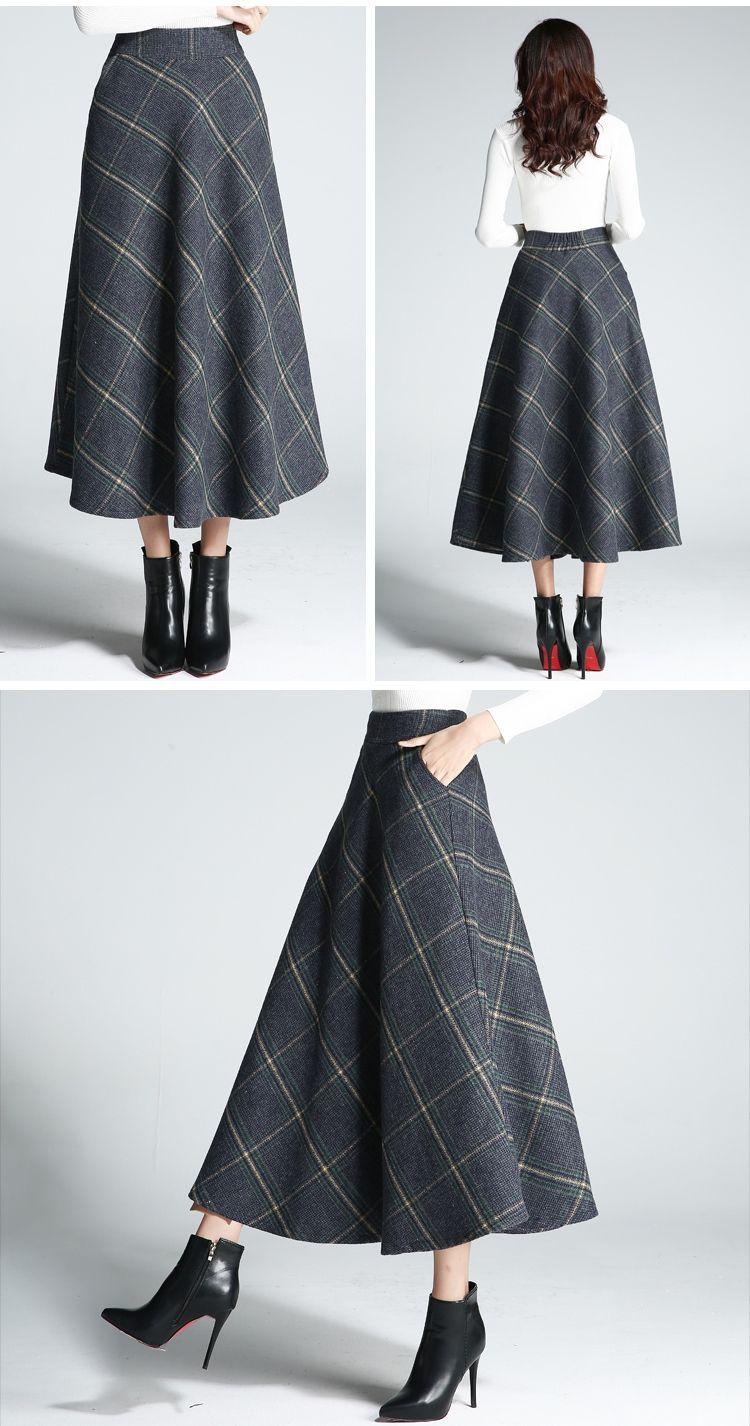 cfeb5d1d3f0 2018 Autumn Winter Vintage Wool Skirt Womens Plaid Casual A-Line ...