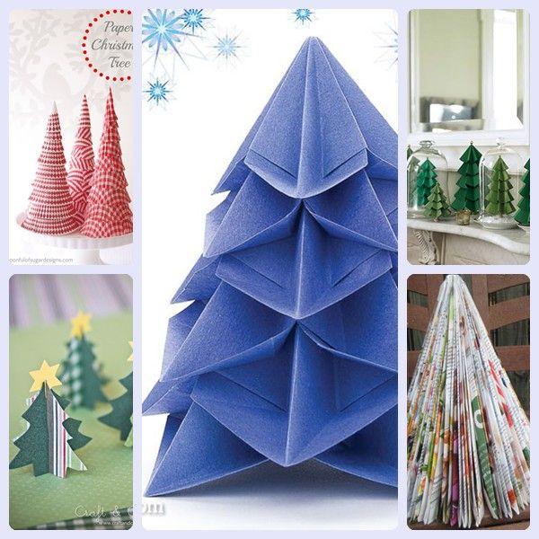 rboles de navidad de papel fciles de hacer