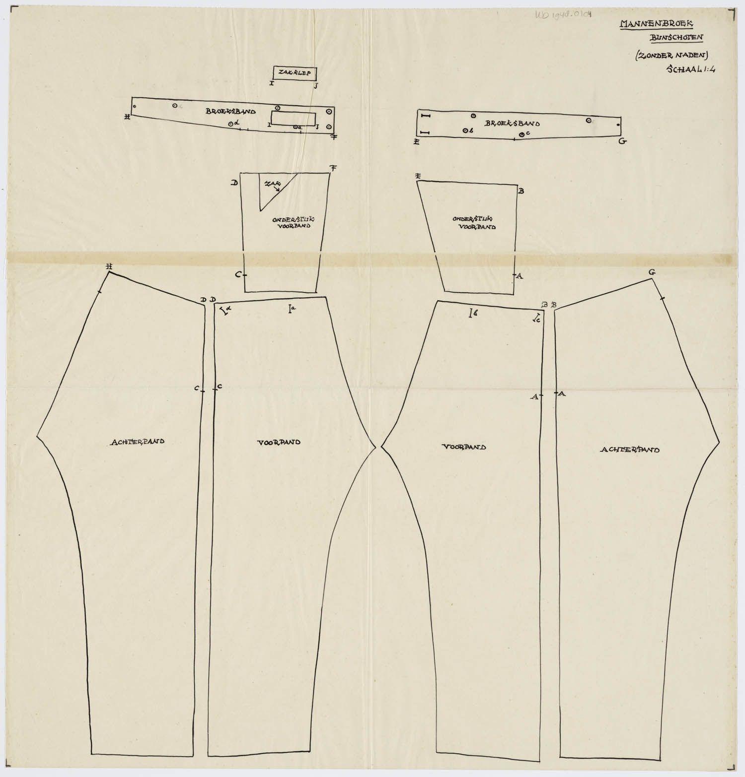 Patroontekening broek, man Bunschoten. Schaal 1:4. 1948 #Utrecht #Spakenburg