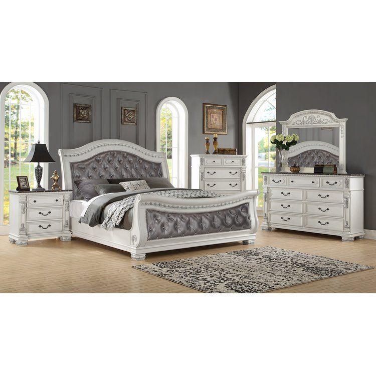 alexandra upholstered sleigh bed  bedroom set bedroom