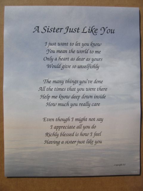 POEM SISTERS LOVE | Sister JUST Like You Personalized Poem