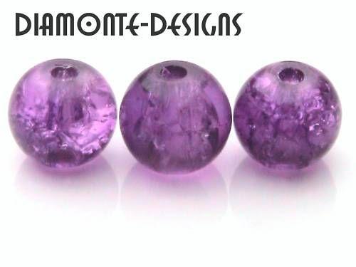 125 x 6mm Purple Glass Crackle Beads Jewellery G170   eBay £1.35