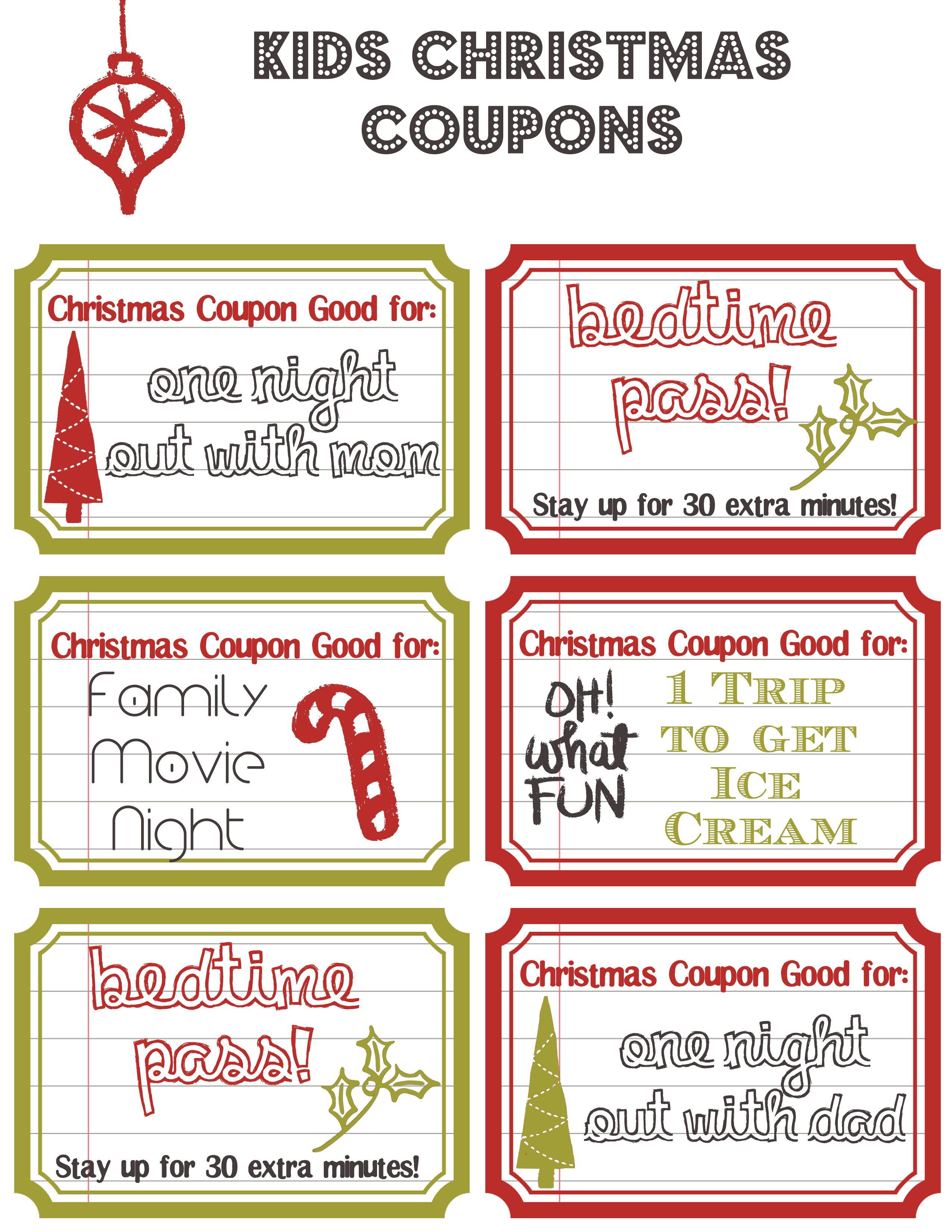 Kids Christmas Coupons made these for AdventConspiracy