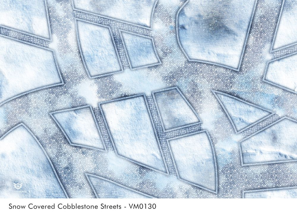 Snow Covered Cobblestone Streets Wargames Terrain Mat In Vinyl Street Game Cobblestone Wargaming Mats