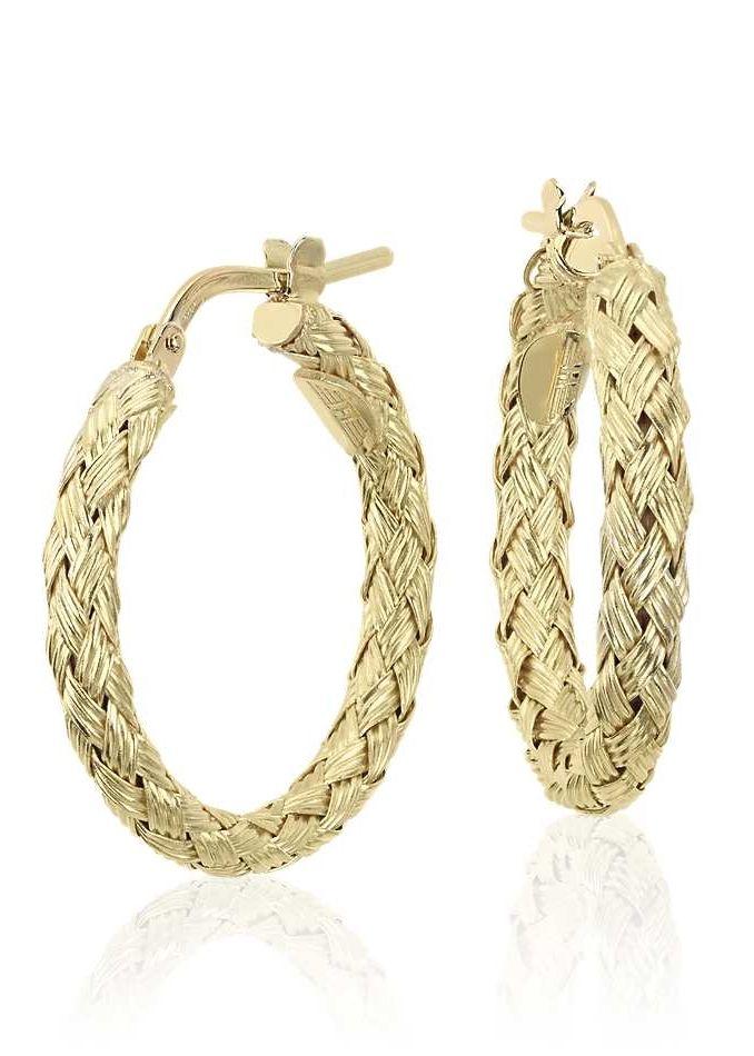 44514b0635408 Braided Hoop Earrings in 18k Italian Yellow Gold (7/8