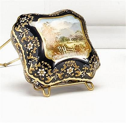 Coalport 'jeweled' porcelain covered box, , Of shaped square