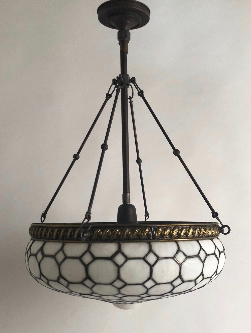 One of if not the nicest circa 1900 leaded glass inverted dome we have had this year quite a bit of artistic stained glass work wit into this fixture