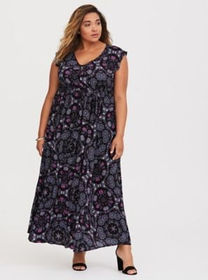 c50f5a5261 Black Tile Challis Maxi Dress | Products | Dresses, Plus size black ...