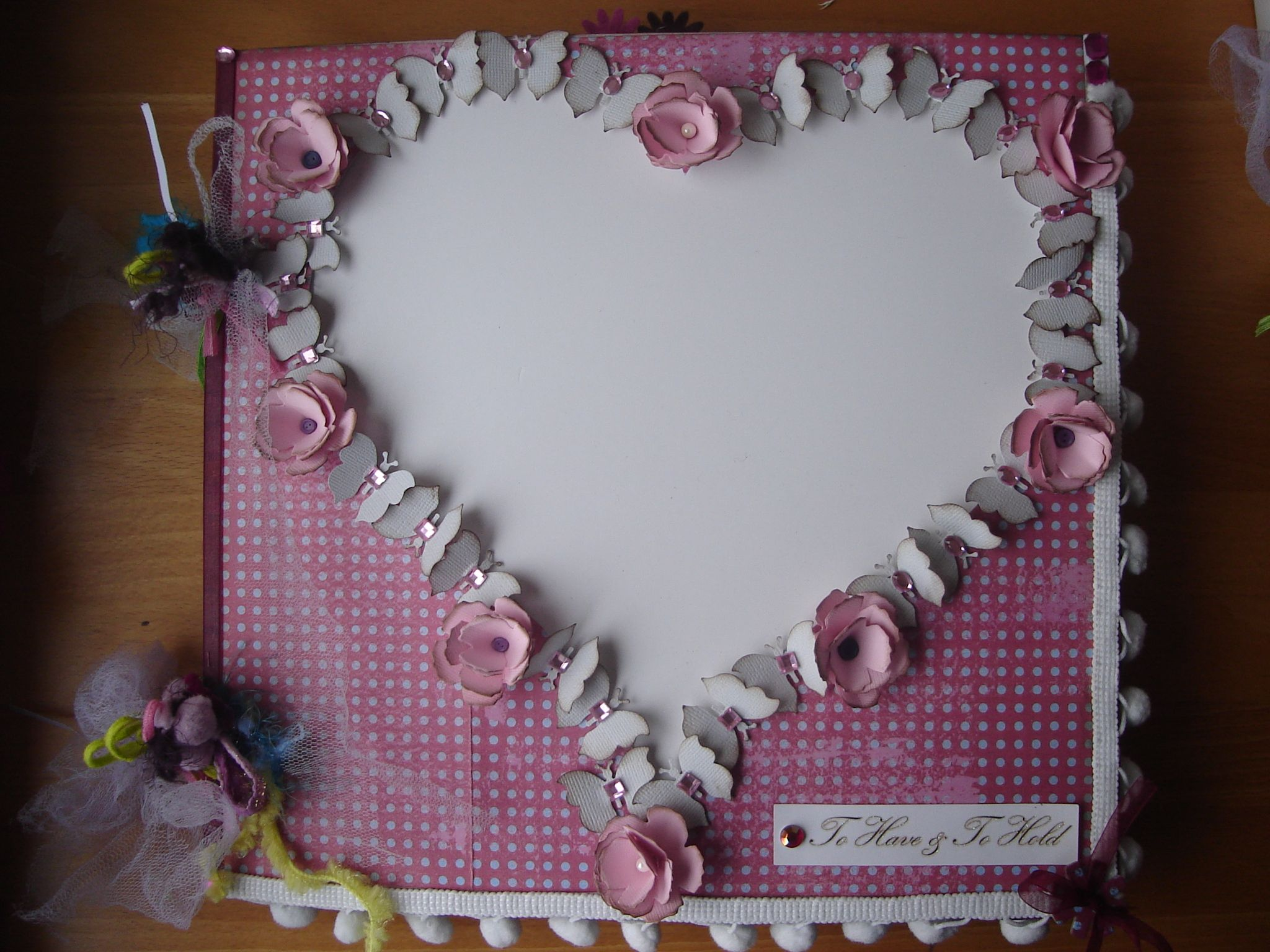 How to make scrapbook album cover - Handmade Album Cover With Space For A Heart Shaped Photo 30 X 30
