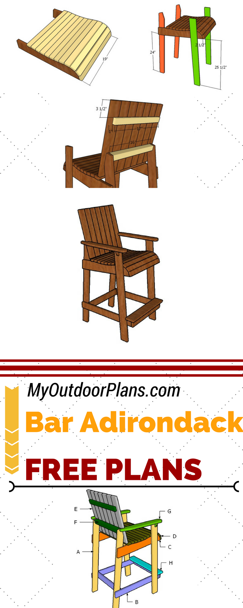 Learn how to build a bar height adirondack chair, so you ...