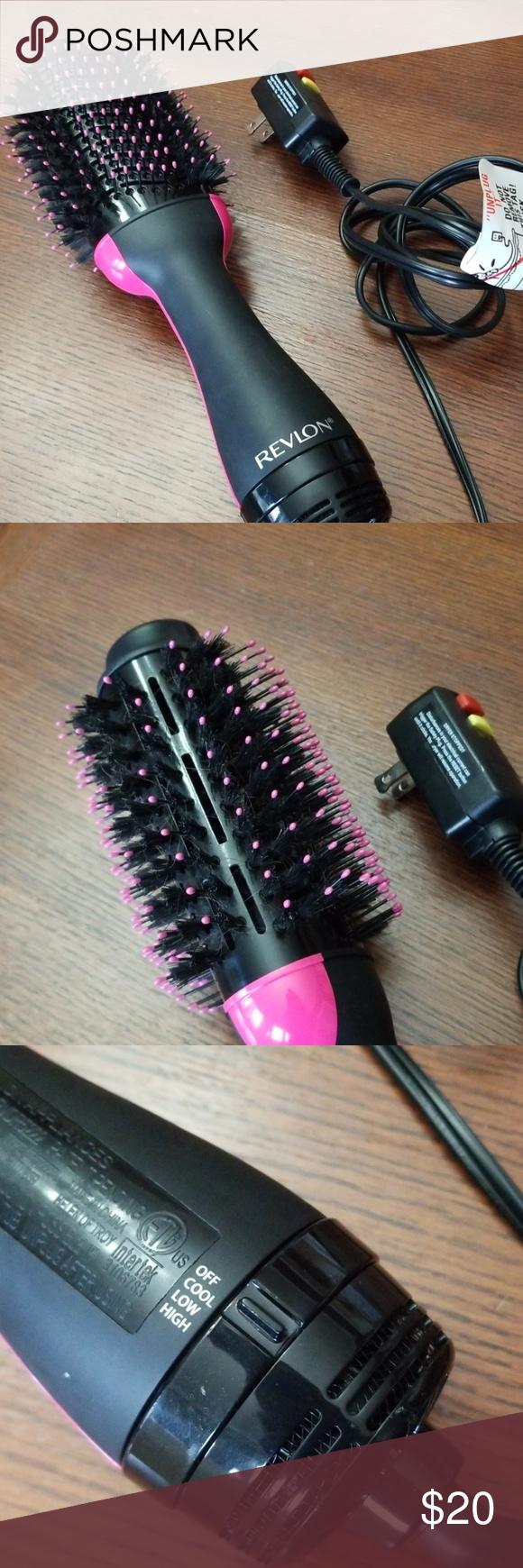 Revlon One Step Hair Dryer Voluminzer Brush Nwot Revlon One Step Hair Dryer Voluminzer Hot Air Brush Unique Oval Design Cool Tip Tangle In 2020 Revlon Black Pink