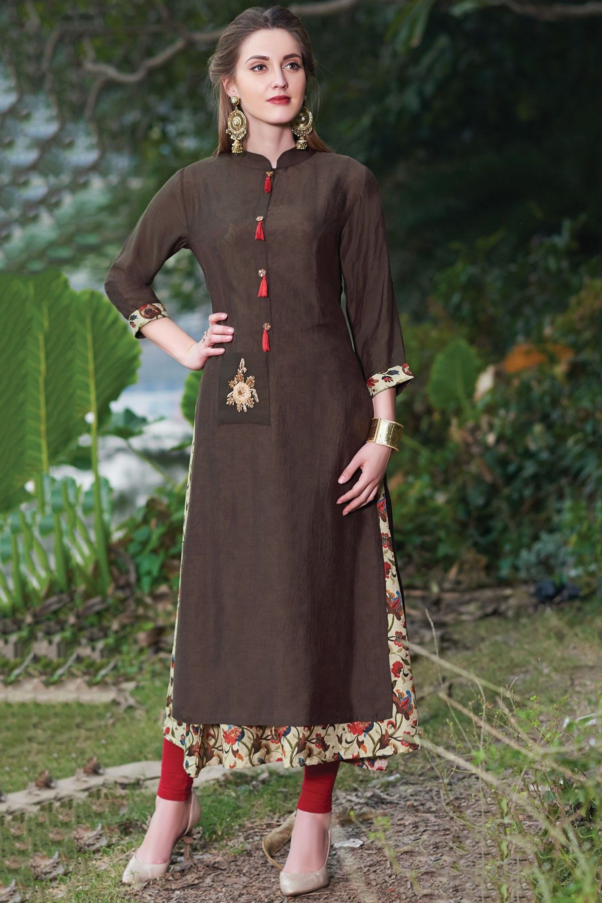 eb6cb916b858 Samyakk Coffee Cotton Printed Layered kurti