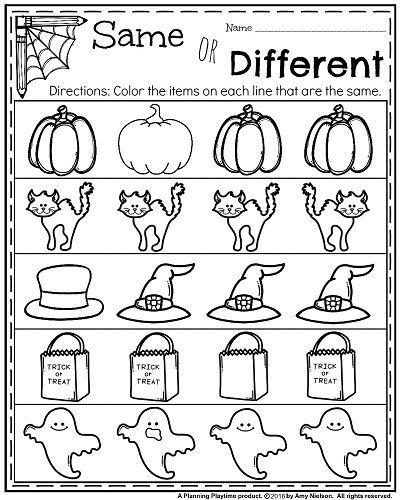 halloween kindergarten worksheets same or different - Halloween Worksheets Preschool