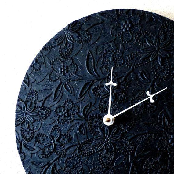 Minimalist Wall Clock, Black Clock, Unique Wall Clock, Home And Living,  Decor U0026 Housewares, Home Decor, Recycled Art, Unique Gift