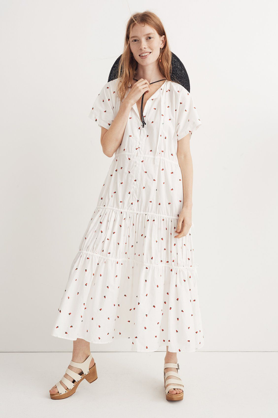 8fca457c274 madewell strawberry tiered dress worn with straw hat + multistrap wood  sandal. call 866 544 1937 or email shopfirst madewell.com to pre-order.
