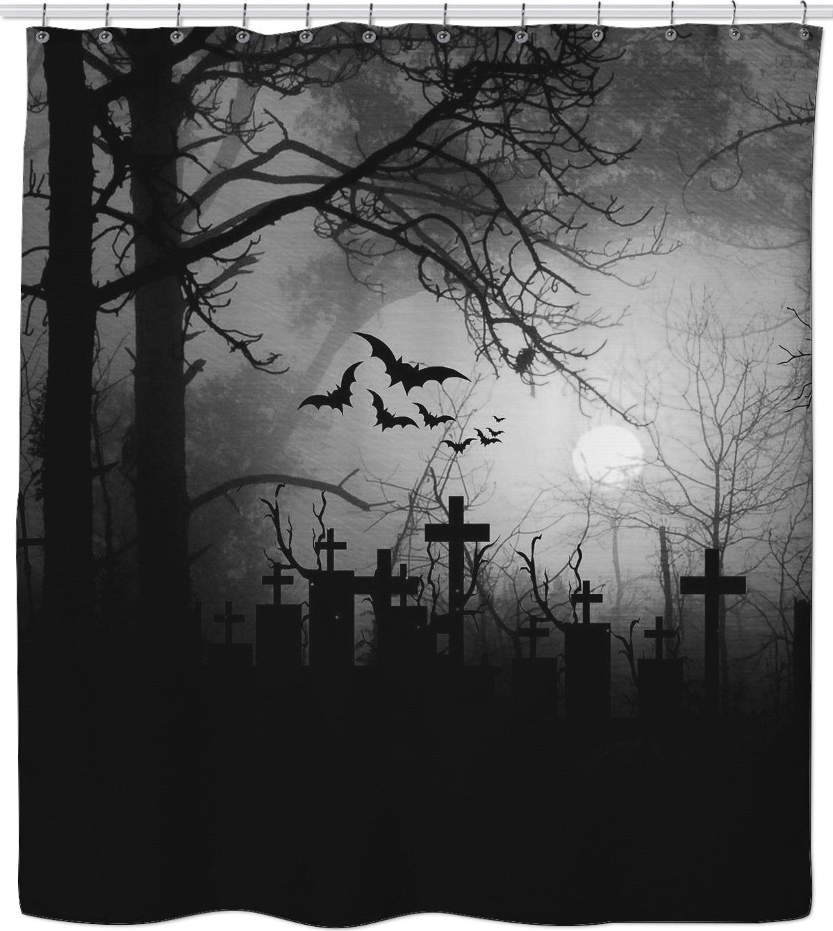 Inked Boutique Graveyard Shower Curtain Cemetery Spooky Creepy