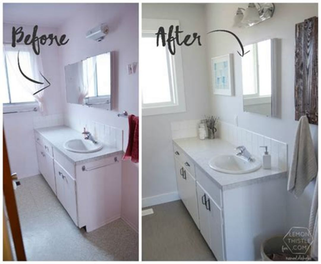 25 Diy House Renovation Ideas With Before And After Picture Cheap Bathroom Remodel Diy House Renovations Diy Bathroom Remodel
