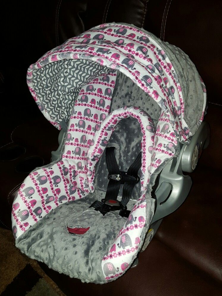 Pink Elephants And Gray Minky Carseat Cover
