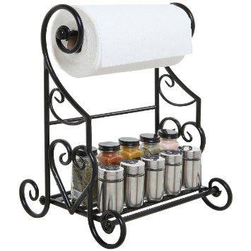 freestanding black metal kitchen bathroom paper towel holder stand counter top shelf rack
