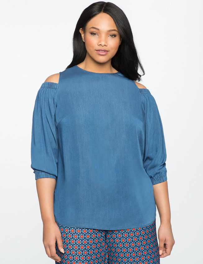 dbe53228da8eed Chambray Cold Shoulder Puff Sleeve Top from eloquii.com