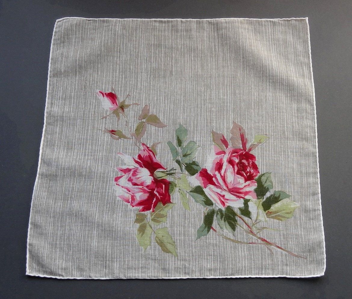 Sale - Vintage 1960s Floral Cotton Hankie Handkerchief – Pink Roses on Beige Background by GenevaVintage on Etsy https://www.etsy.com/listing/183667325/sale-vintage-1960s-floral-cotton-hankie