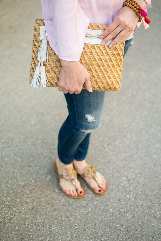 cc50afd03 Houston fashion blogger shares her Tory Burch sandals review for the Miller  sandal in sand patent.