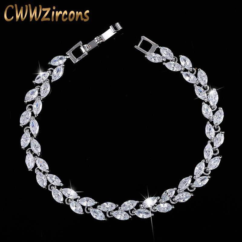 8a86279a52d1b CWWZircons New Trendy 2019 Cubic Zirconia Jewelry Silver Color Leaf ...