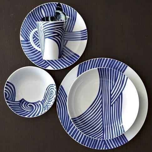 Wave Bowl Dinnerware Set Blue And White Dinnerware Modern Dinnerware