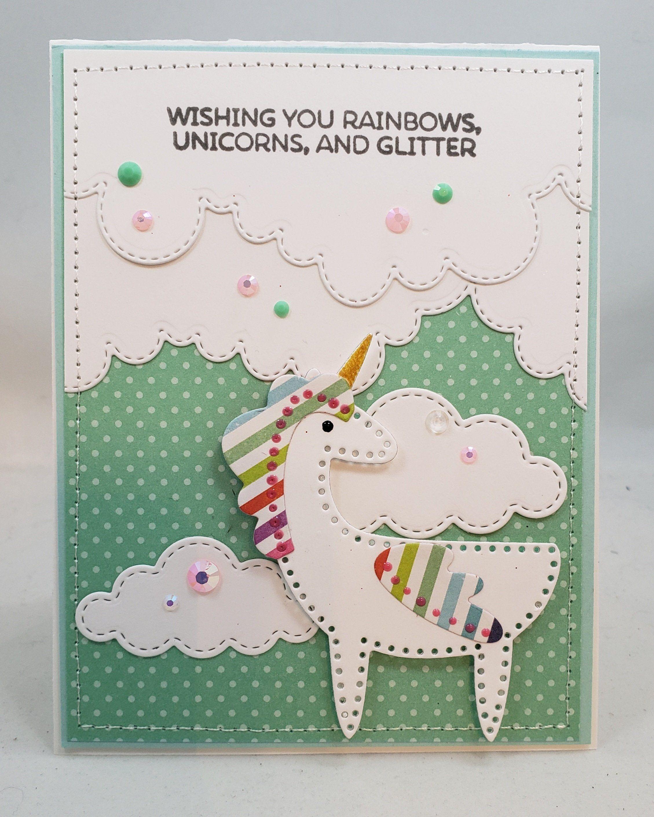 unicorn wishes handmade card greetings gift birthday