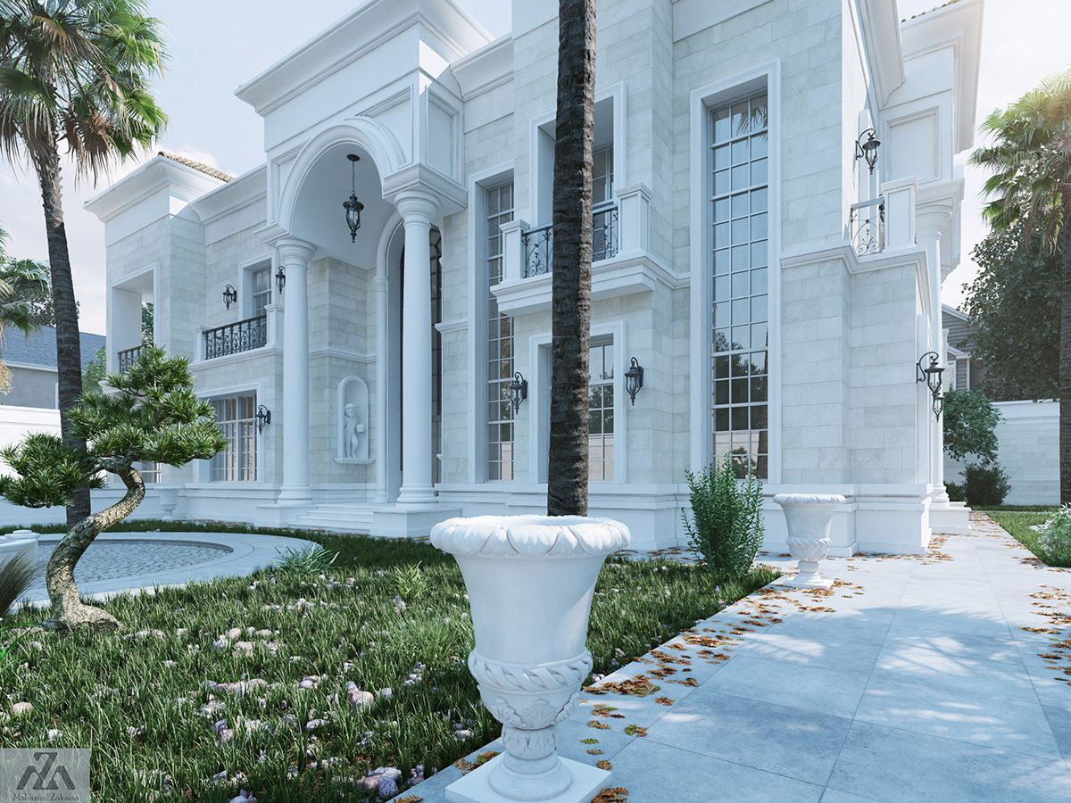 White Palace on Behance | Villa design, House exterior, Facade house