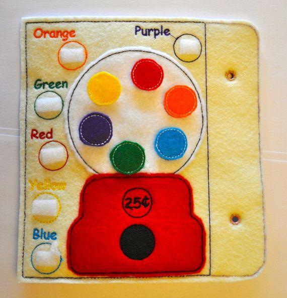 Gumball libro tranquillo applique ricamo design file 4x4 Hoop sentivo attività bambini libro INSTANT DOWNLOAD colore / parola Match pagina exp. PES più!