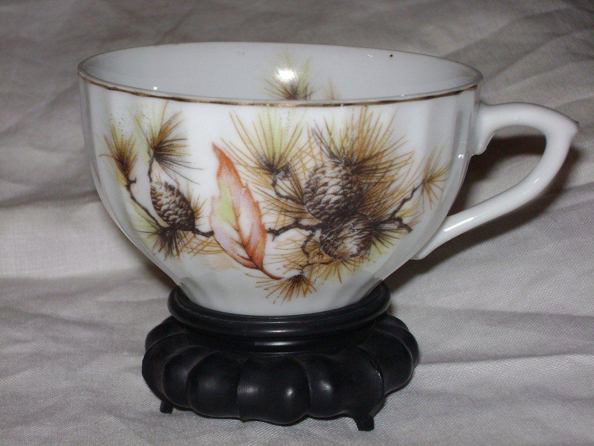 taza de té porcelana japonesa c/ base adorno vitrina