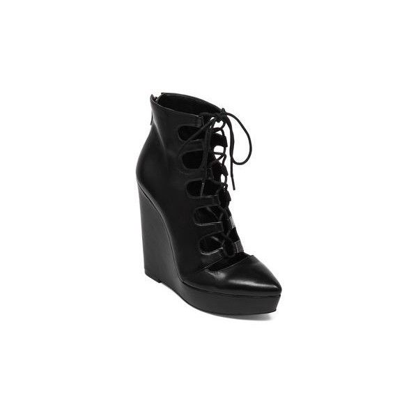 BCBGeneration Alfredo Lace-Up Wedge Bootie (1.070 DKK) ❤ liked on Polyvore featuring shoes, boots, ankle booties, lace-up wedge booties, wedge boots, ankle boots, lace up booties and lace up wedge ankle booties