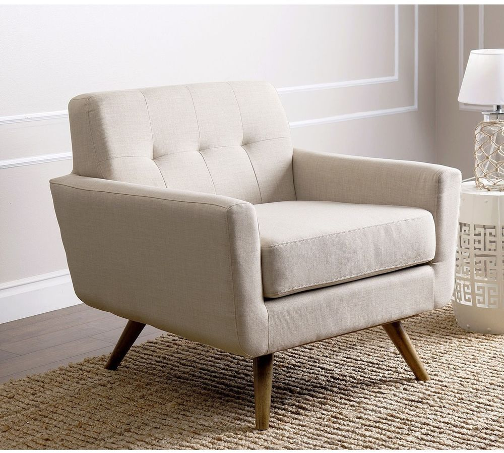 Modern Fabric Armchair Ivory Linen Comfortable Wooden Legs Seat Furniture  New