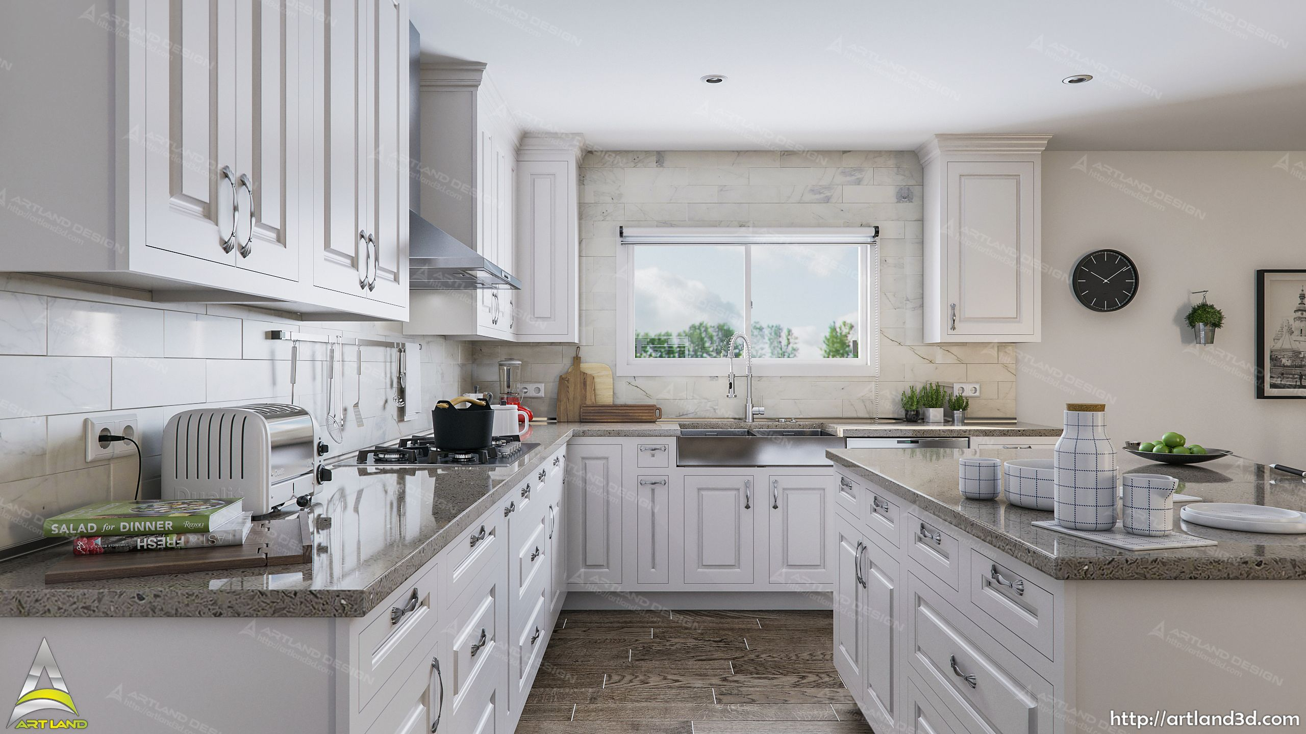 All White Modern Kitchen Architectural Design and