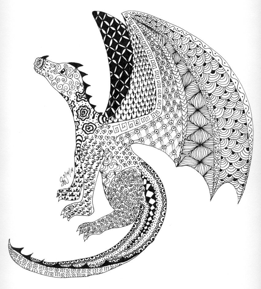 Zentangle dragon by kiuslady middle earth zentangles for Art drawing ideas for adults