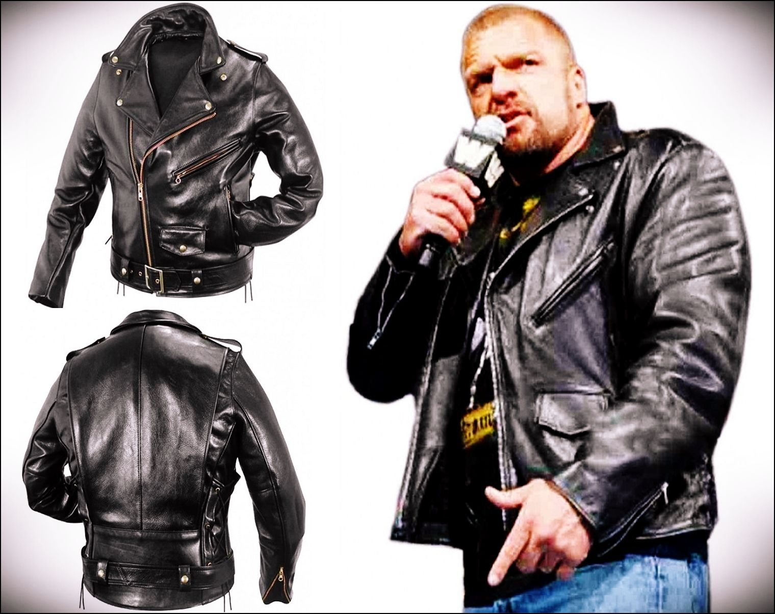 cheap for discount closer at for whole family Paul Michael Levesque Black Leather Jacket | Leather jacket ...