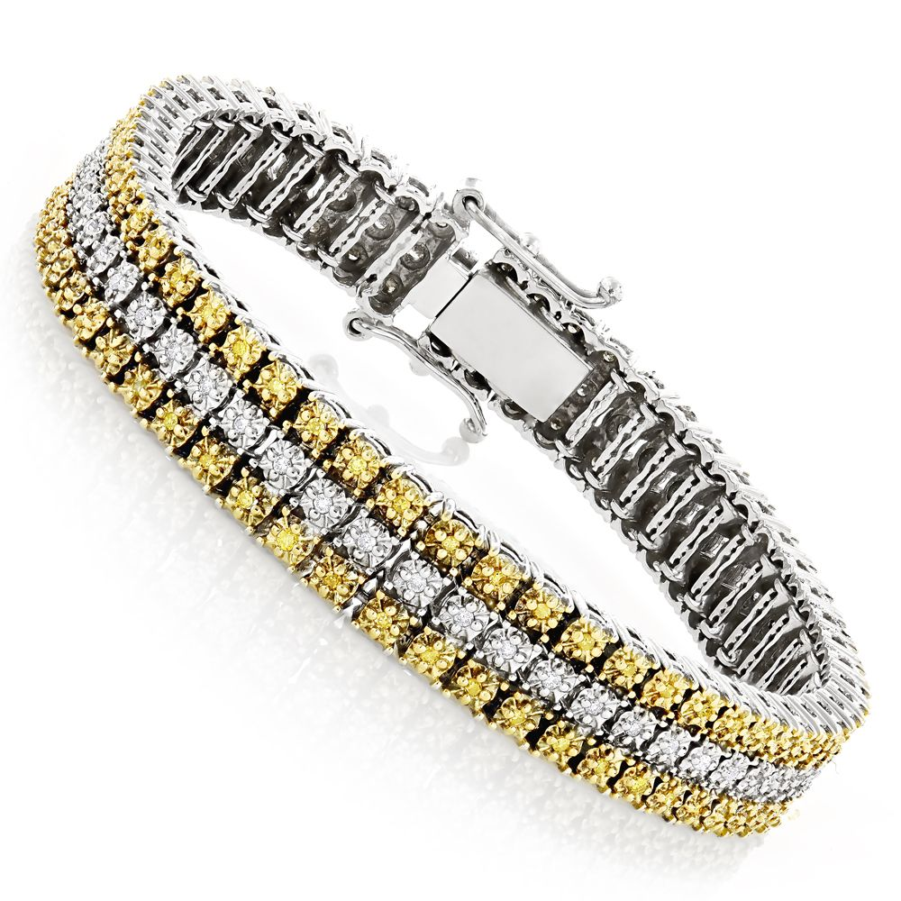 10k Gold Three Row Diamond Bracelet White Yellow 1ct Mens Diamond Jewelry Diamond Fashion Jewelry Bracelets For Men