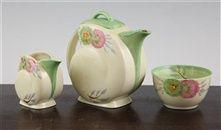 """Aurea"" Nautilus shape teapot, milk and sugar bowl;  by Clarice Cliff"