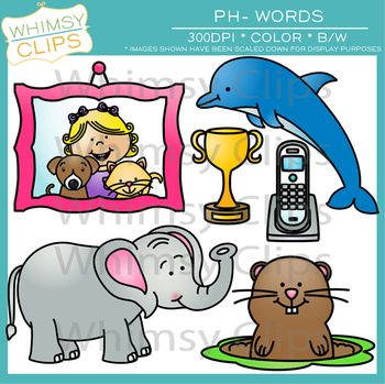 Digraphs Clip Art: Ph Words | Black, Clip art and Art