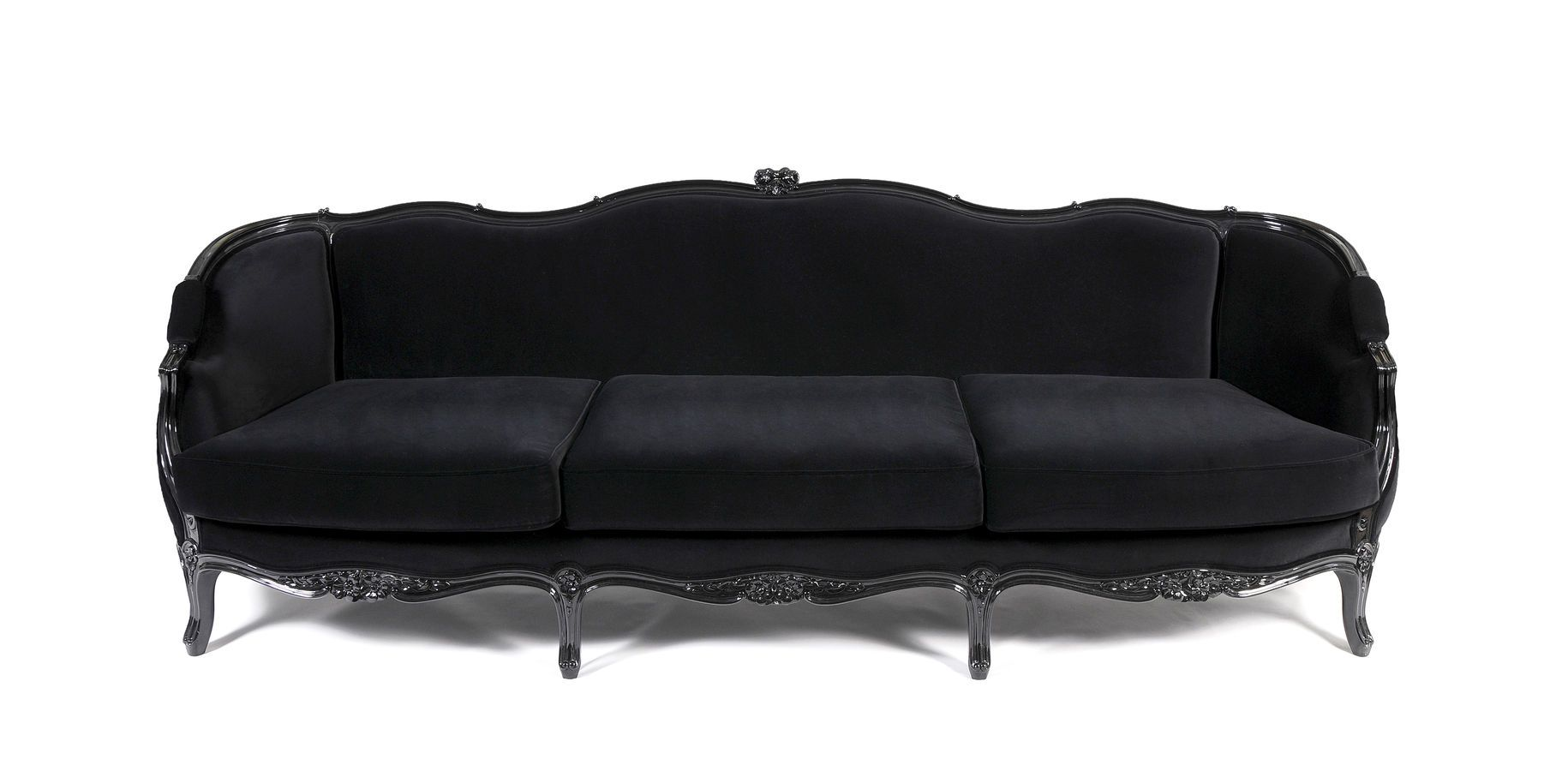 Vintage Black Sofas Design Beautiful Carved Sleek Wood Frame