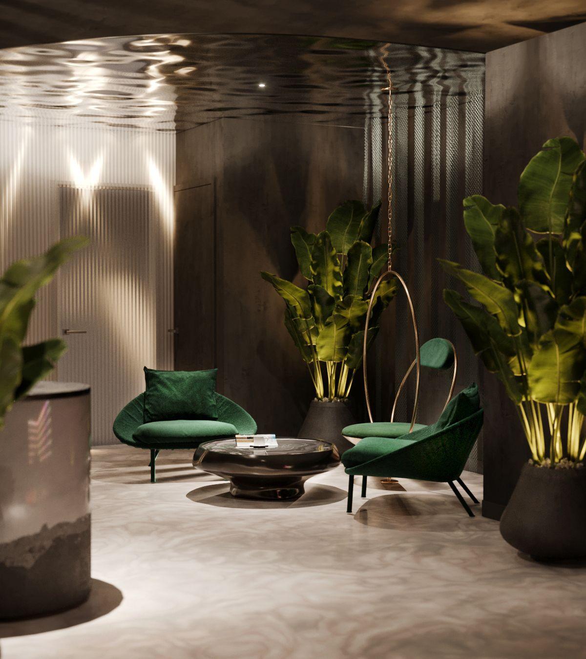 Emerald Green Gold Lush Greenery Luxurious Interior