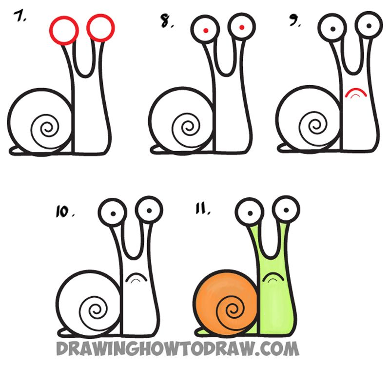 Learn how to draw cartoon snail from lowercase letter a simple steps drawing lesson for kids