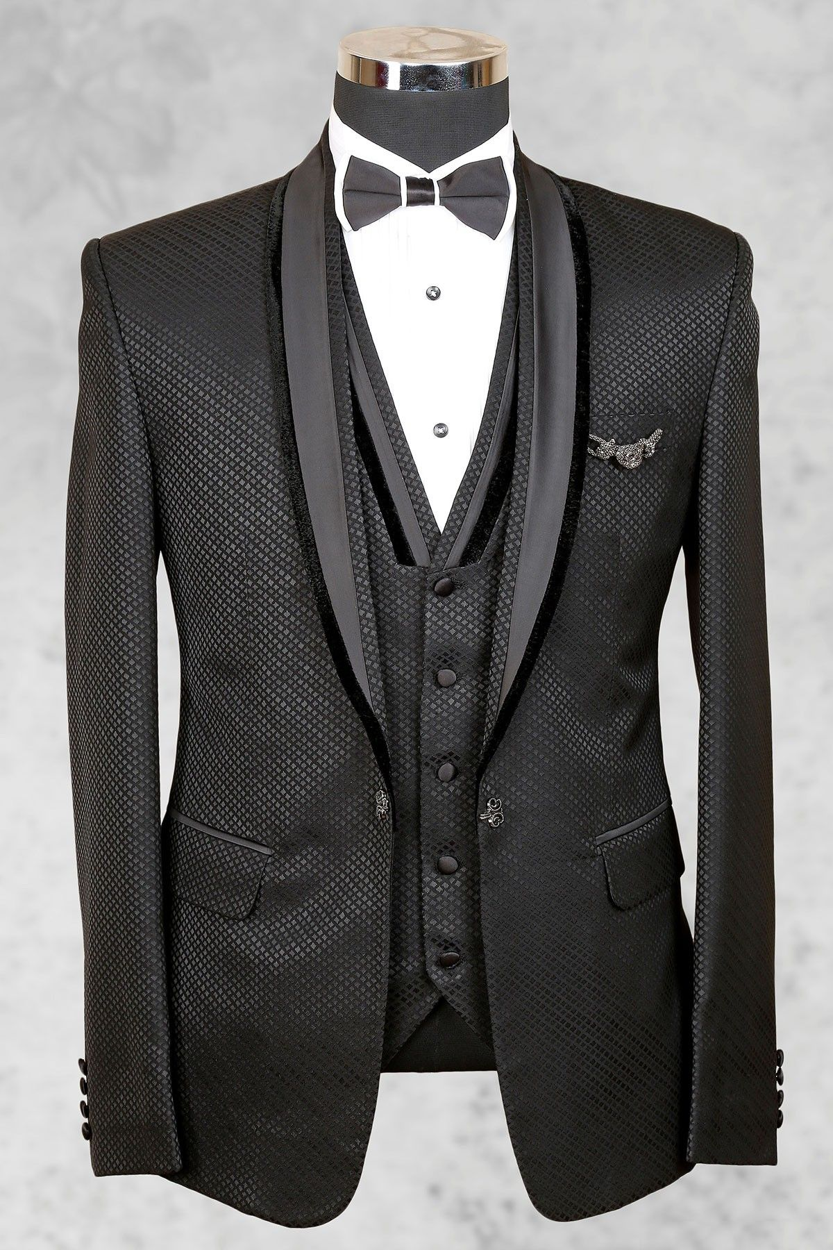 Grey smart italian suit with shawl lapel-ST454 - Tuxedo ...