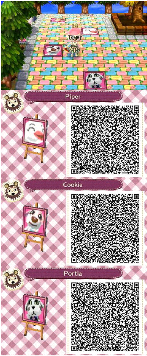 ACNL Animal crossing new leaf QR codes. Villager portraits & tiles on