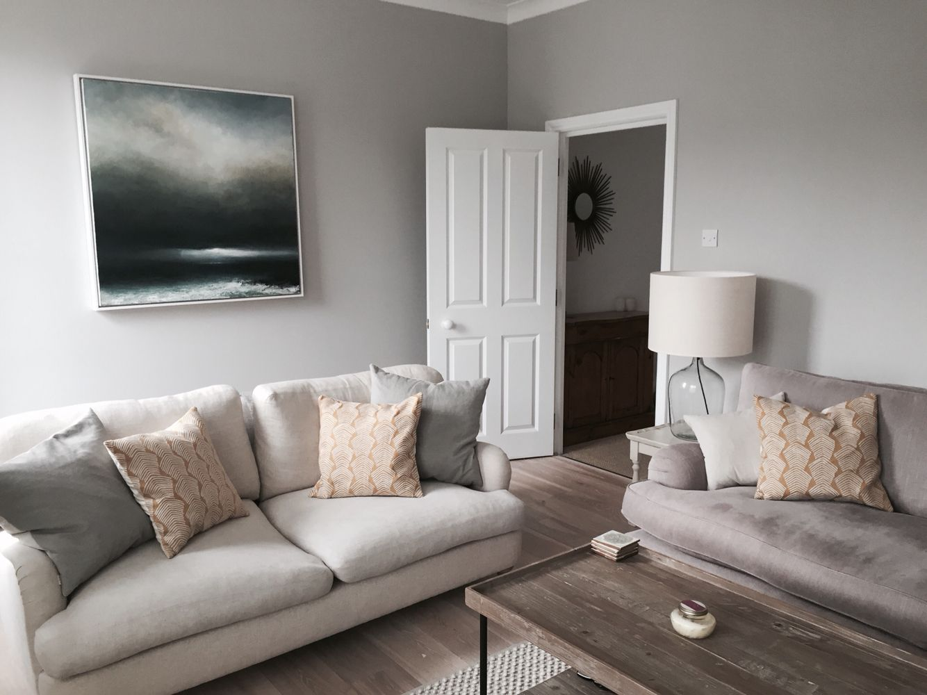 Sitting room farrow and ball cornforth white walls - White walls living room ...