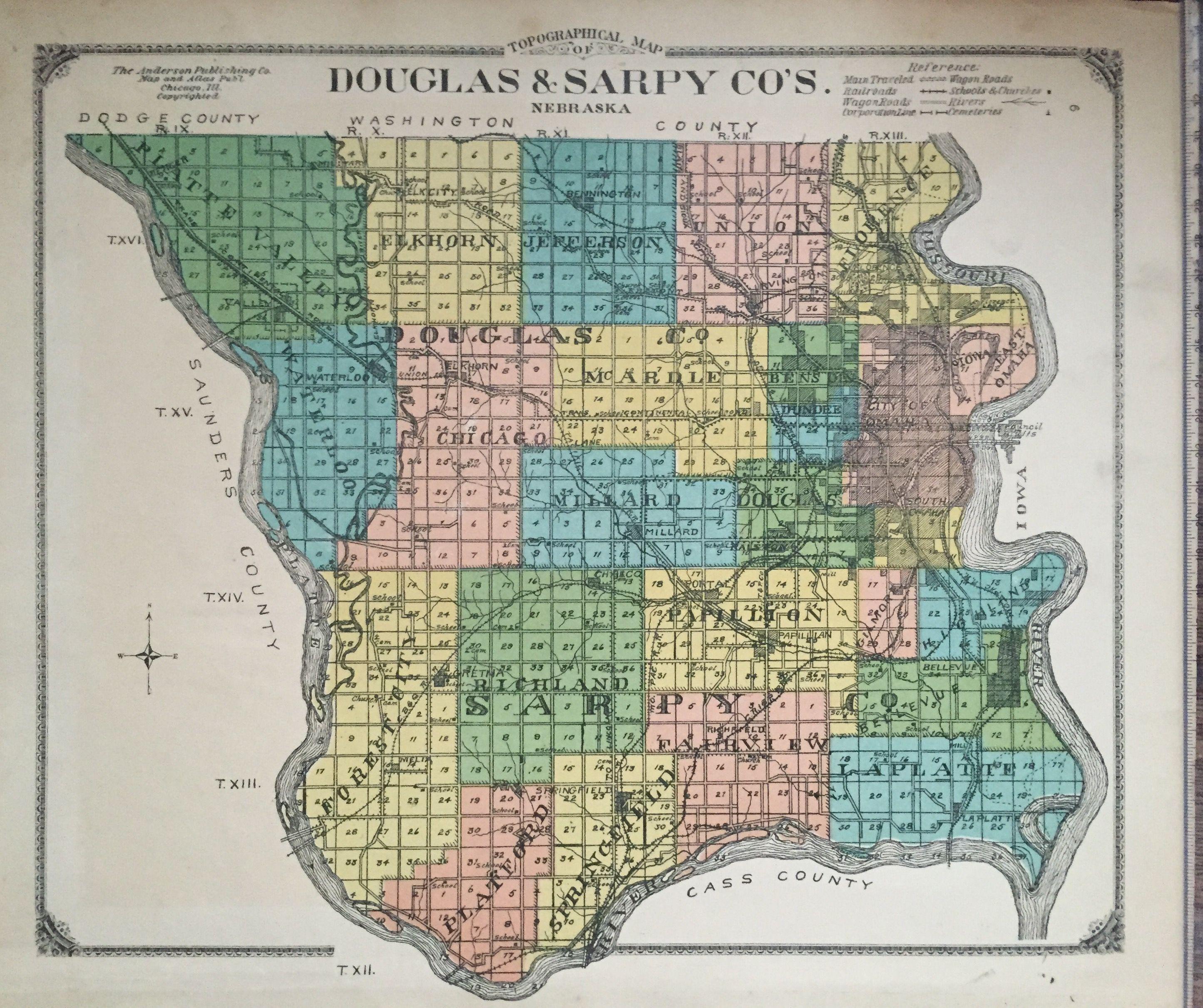 Counties Nebraska Map.Douglas And Sarpy Counties Nebraska 1910s Atlas Antique Maps