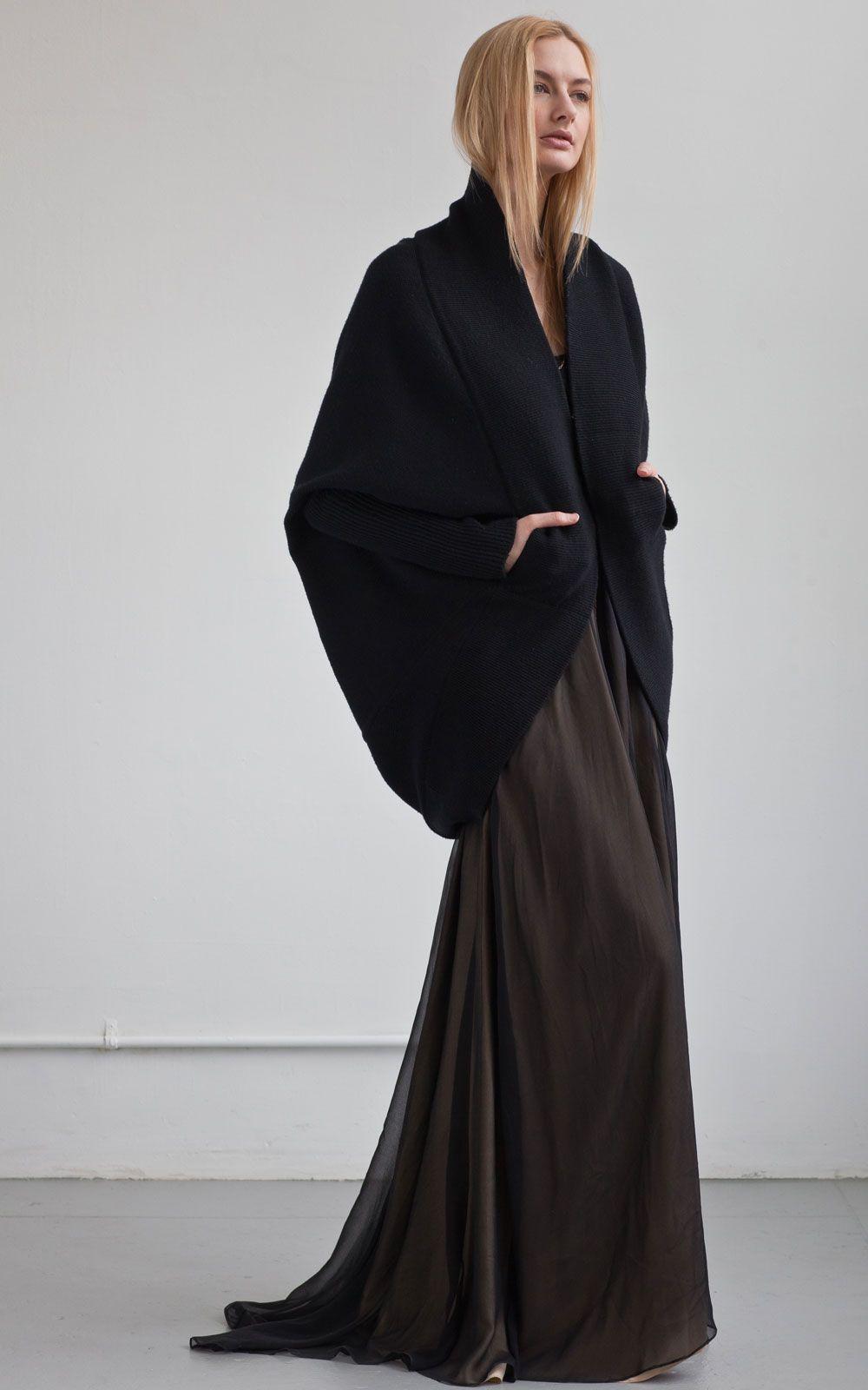Black cape sweater u long skirt amazing u comfy goddess look